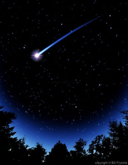 shooting star night sky