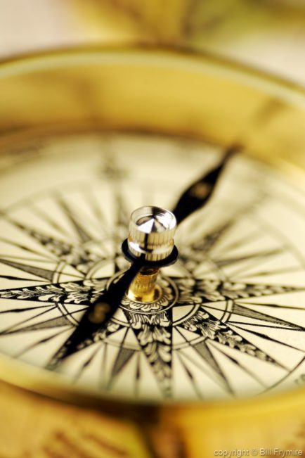 Antique compass - close-up of needle