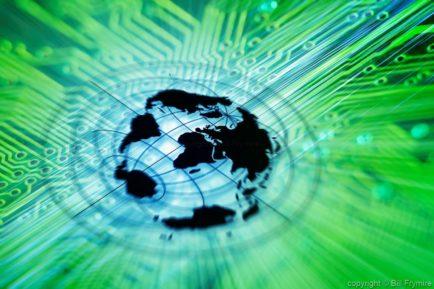 world map on green circuit board